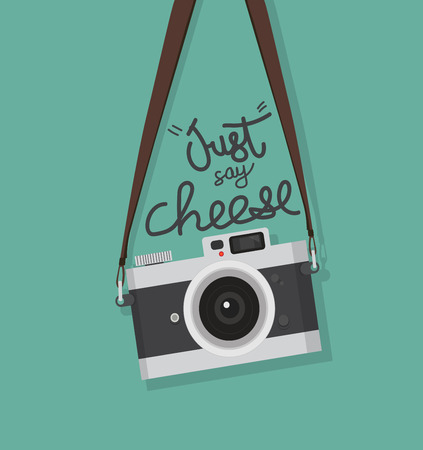 hanging vintage camera with just say cheese Vector illustration.