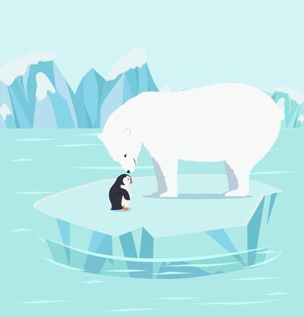 polar bears and penguins on an iceberg at North pole Arctic Vector illustration. Stock Illustratie