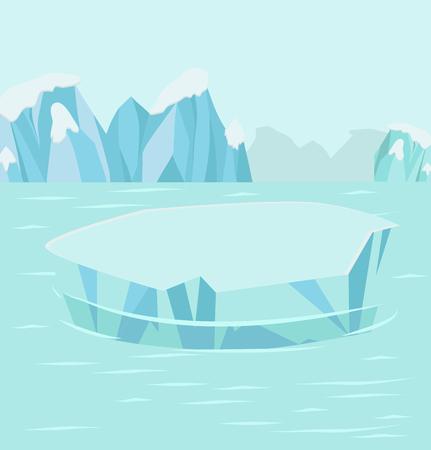 North pole Arctic background Vector illustration.