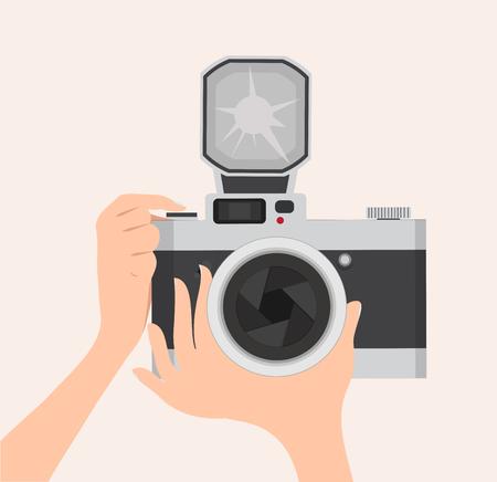 concept design hand and camera Vector illustration.