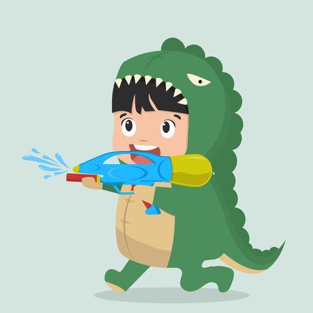 Cute boy Fashion Dinosaur with water gun Vector illustration. Illustration