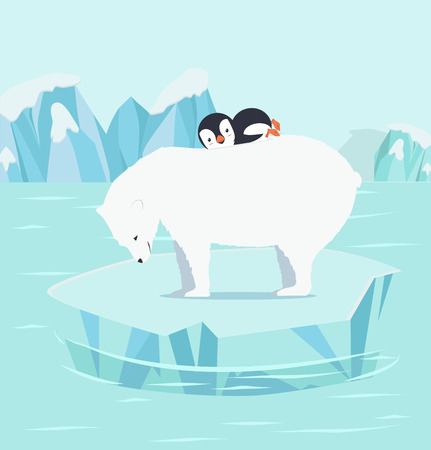 Penguins sleeping with polar bears at North pole Arctic. Illustration