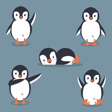Collection of cartoon penguin vector