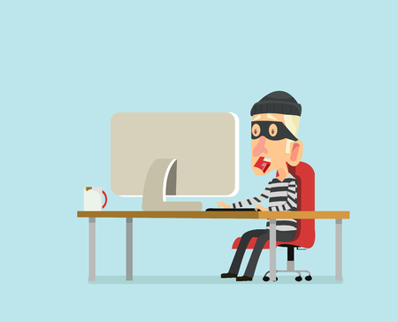character design Thief stealing data from the computer