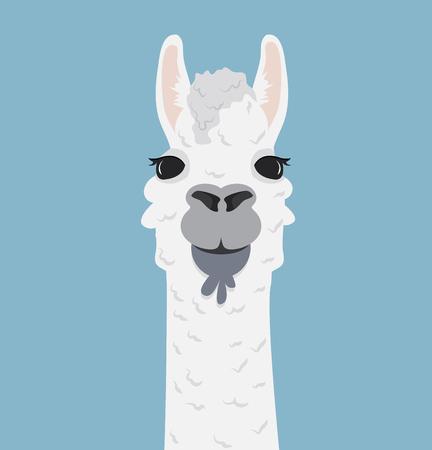 Alpaca lama portrait Vector Illustration.