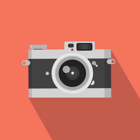 Flat design vector vintage camera with long shadow