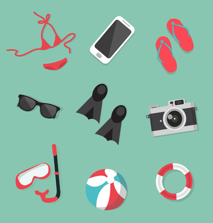 Summer collection accessories set Illustration