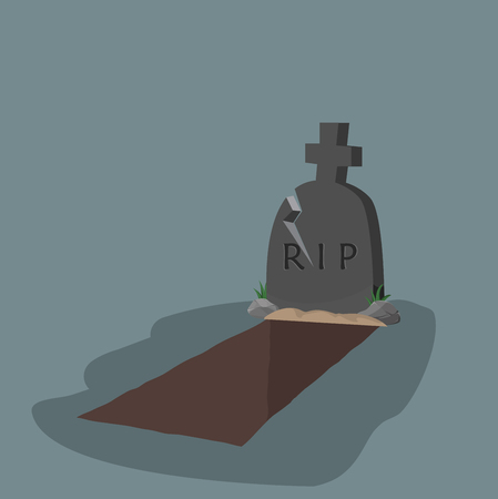open grave and headstone flat design Illustration