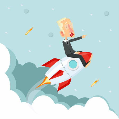 businessman Sitting On on a Flying rocket Illustration