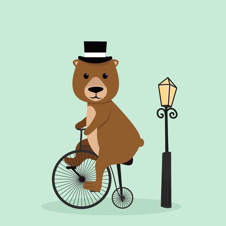 Cute bear riding a bycicle