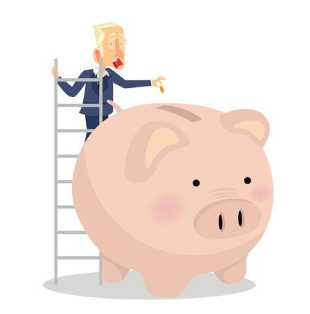 businessman putting coin a Piggy bank