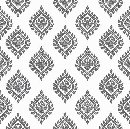 gray Line thai art pattern vector