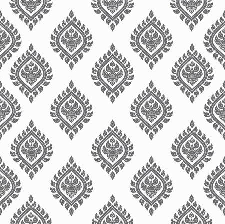 gray Line thai art pattern vector