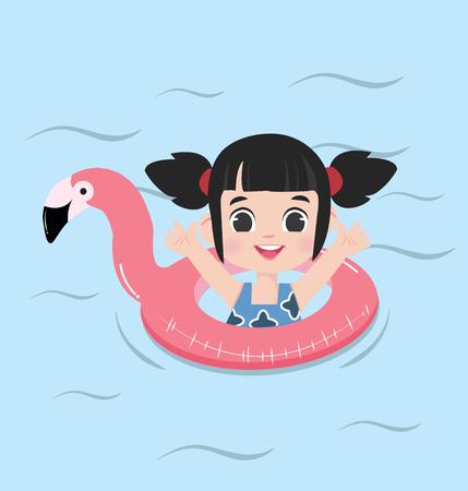 little girl Summer flamingo float swimming pool ring