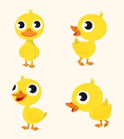 Conjunto de pato lindo personaje feliz Ilustración de vector