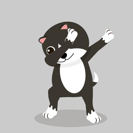 Cute cat Dub dancing sign vector