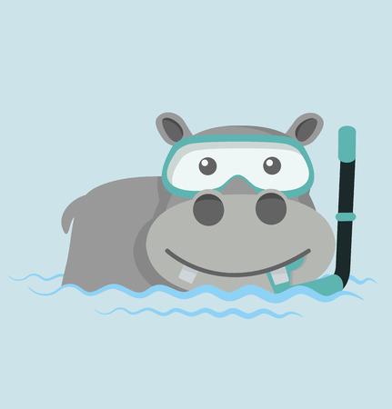 Hippo Snorkeling in water 일러스트