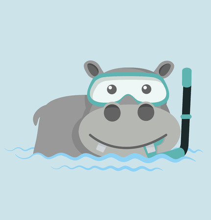 Hippo Snorkeling in water Illustration