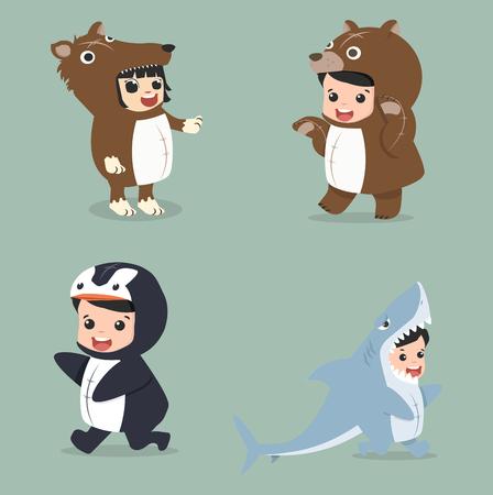 Set of cartoon little kid in Animals costumes