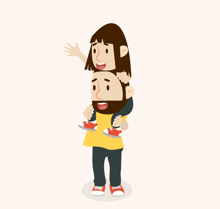 Happy Father Carries with Daughter On Shoulders Illustration