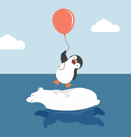 Cute polar bear swimming with penguin  holding balloon Çizim
