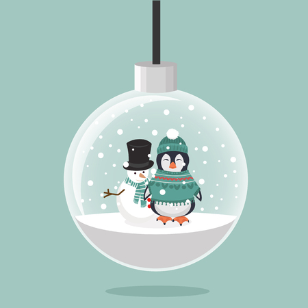 Penguin in winter clothes and Snowman with christmas ball