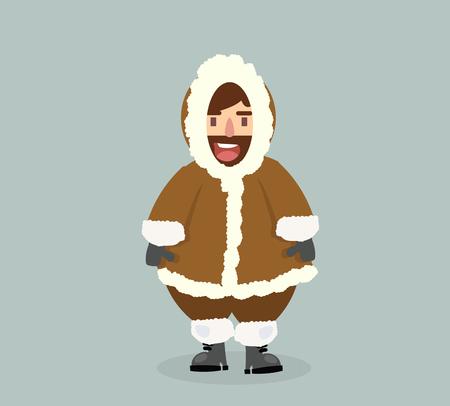 funny  Eskimo man in flat design