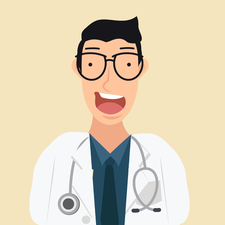 young man doctor cartoon  イラスト・ベクター素材