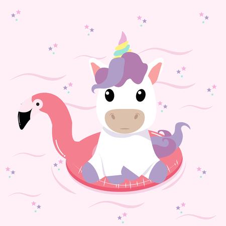 Anillo de piscina con flotador Unicorn Summer Flamingo