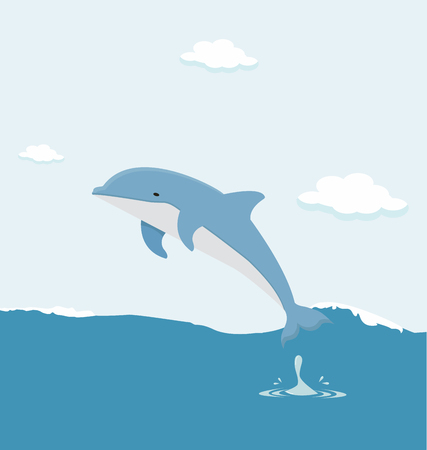 Jumping dolphin in the sea vector