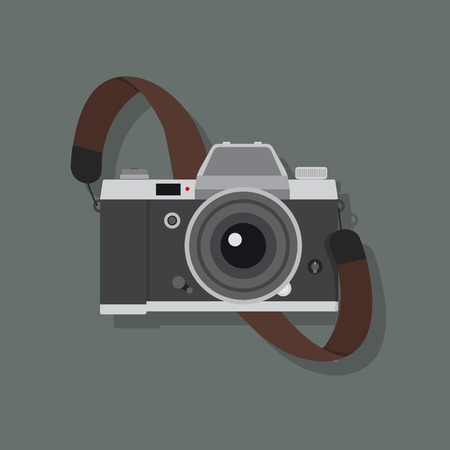 Retro camera in a flat style with strap Vecteurs