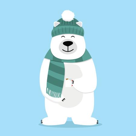 teddy Bear holding mug of coffee drink with scarf