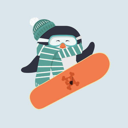 penguin with snowboarder