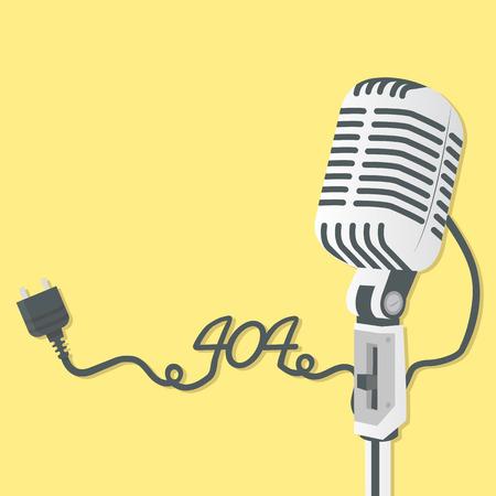 Retro microphone with 404  Error 일러스트