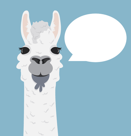 Alpaca lama portrait with speech bubble