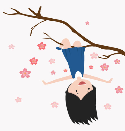 little girl hanging on a cherry tree branch