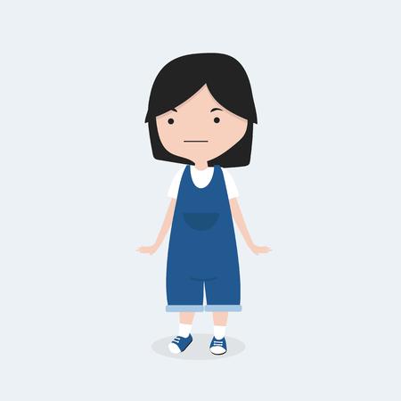 Nettes kleines Mädchen in der Kleidjeanszeichentrickfilm-figur Vektorgrafik