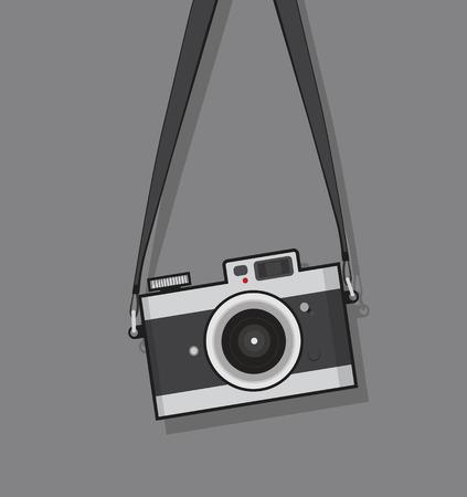 conception de style plat appareil photo vintage suspendu