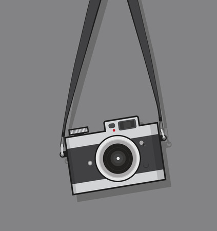 hanging vintage camera  flat style design