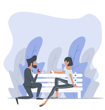 Man proposing to a woman sitting bench nature background