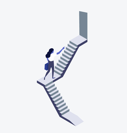 Businesswoman walking up staircase concept Vettoriali