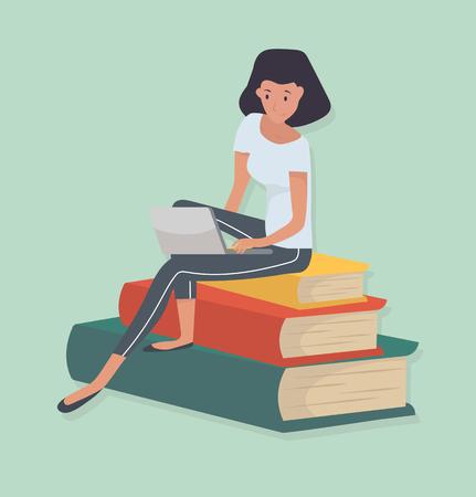 mujer sentada pila libro concepto de conocimiento Ilustración de vector