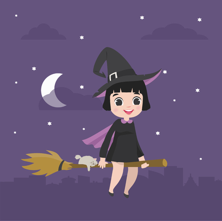 Cute kid Halloween character in witch costume on a broomstick in the night sky