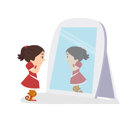 Cute Girl looking and cat standing in front of the mirror Illustration