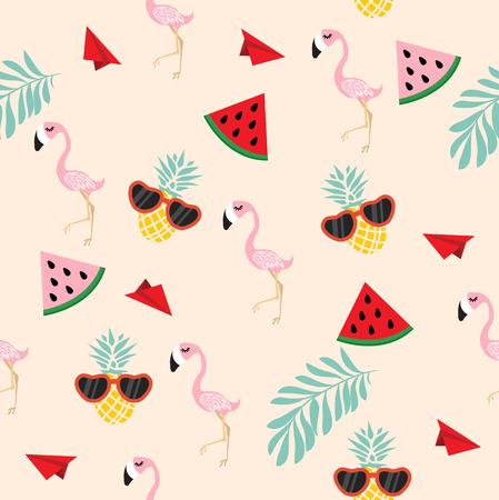cute pink flamingo  tropical Seamless wiht paper plane pattern