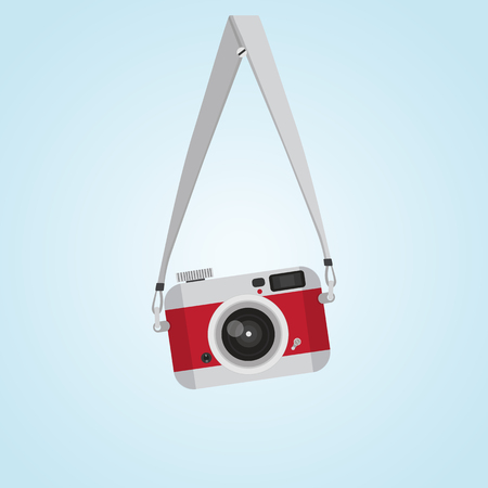 hanging red vintage camera with Screw head Flat style Vettoriali
