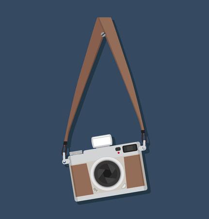 Flat style vintage camera hanging Vecteurs