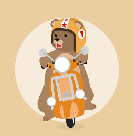 Big bear riding scooter Illustration