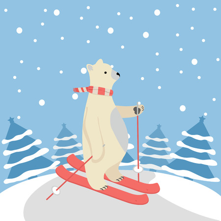 Cute Polar Bear Happy  skiing with tree background