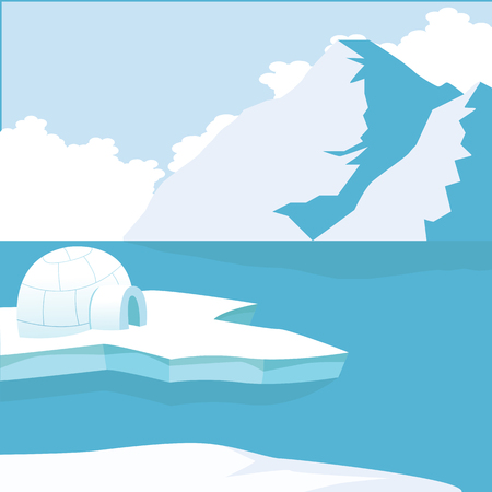 Arctic iceberg and mountains with Igloo Icehouse